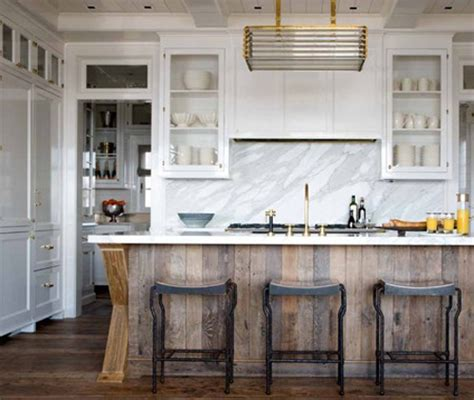 white kitchen wood island kitchen of the week distressed wood and brass an