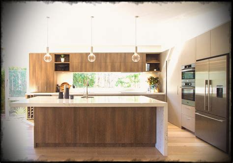 large modern kitchen in warm tones with a island