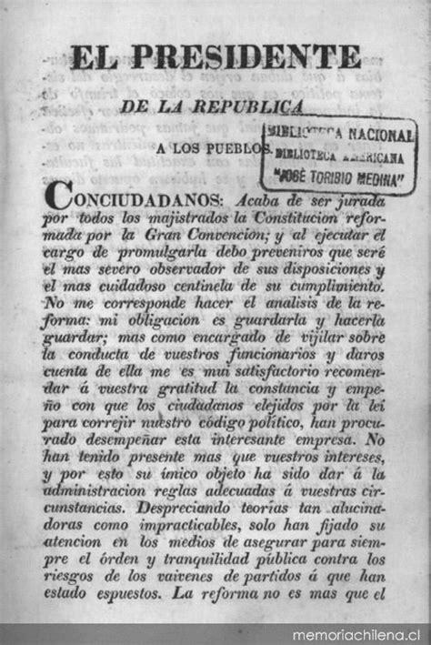 Constitución de la República de Chile : jurada y