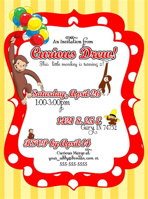 Curious George Birthday Invitation Template free curious george invitations templates st louis