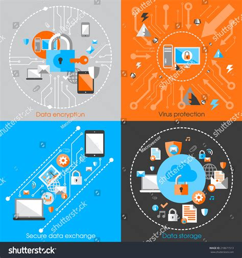 design concept elements business data protection technology cloud network stock
