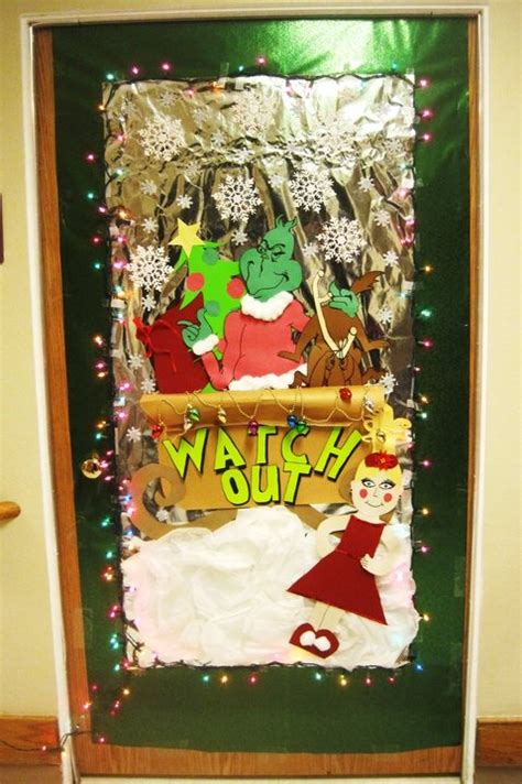 grinch door decorating christmas pinterest