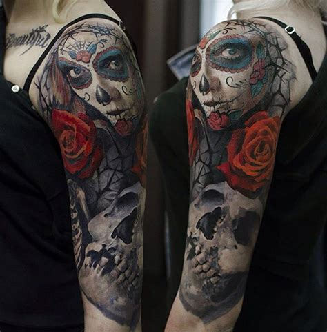 day of the dead rose amp skull arm piece best tattoo