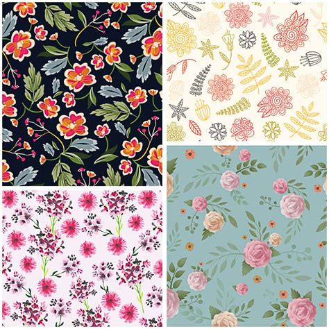 floral retro painted pattern set vector