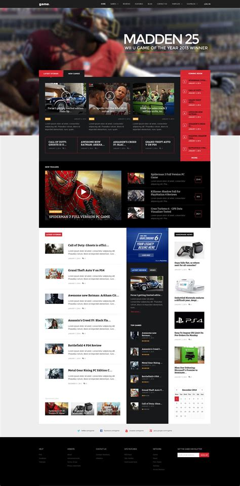 best themes in games game joomla template for gaming news video gavickpro