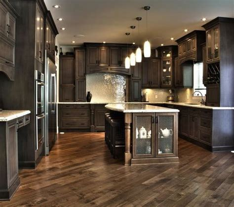 kitchen floor ideas with dark cabinets dark kitchen cabinets herringbone floor home ideas