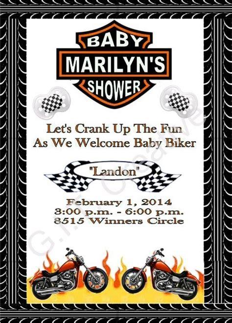 Harley Davidson Motorcycle Baby Shower Invitation Invitations Baby Shower Motorcycle Baby Harley Davidson Invitations Templates