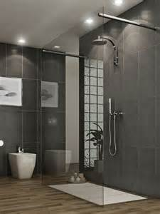 amazing modern small grey bathroom wooden floor glasses wall