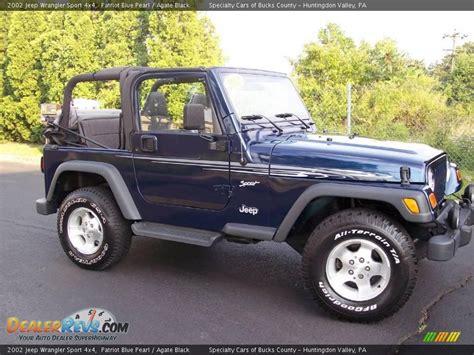 jeep sport 2002 2002 jeep wrangler sport 4x4 patriot blue pearl agate
