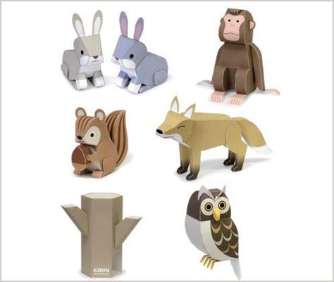 Animals Out Of Paper - paper owl template owl squirrel fox monkey and