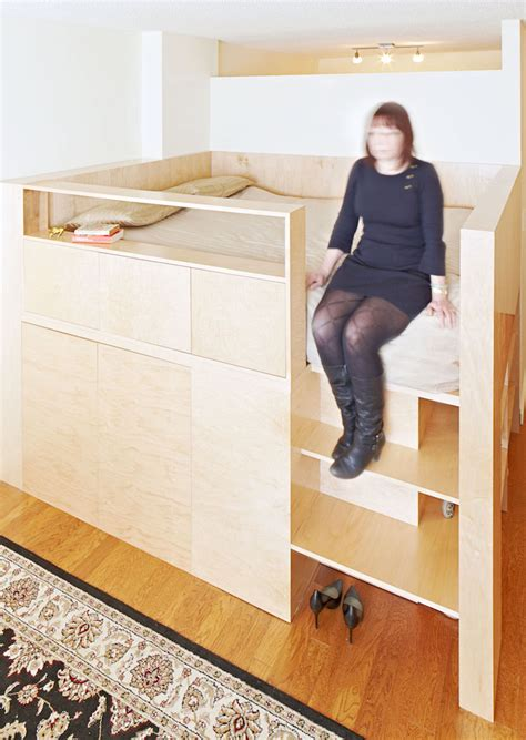 Loft Bed With Walk In Closet by A Studio Apartment That Doesn T Feel Like A Big Bedroom