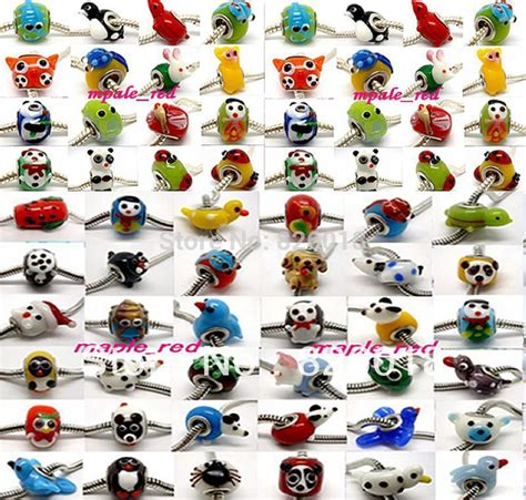 50 PCS Lovely mixed variously Animal Lampwork Glass Beads Fit European Charm Bracelet or