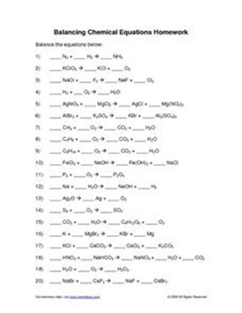 balancing chemical equations 10th higher ed worksheet lesson planet