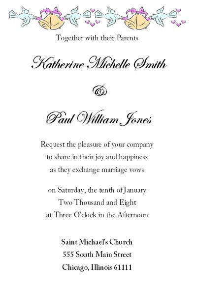 Invitation Letter For Wedding Dinner Free Printable Wedding Invitation