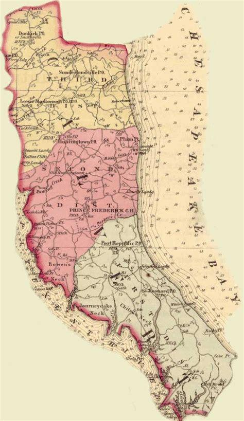 Calvert County Records Calvert County Simon J Martenet Martenet S Atlas Of Maryland 1865 Huntingfield