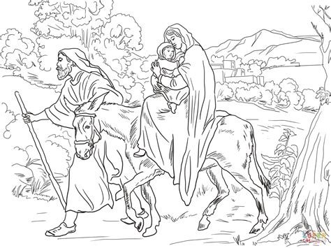 mary and joseph flight into egypt super coloring