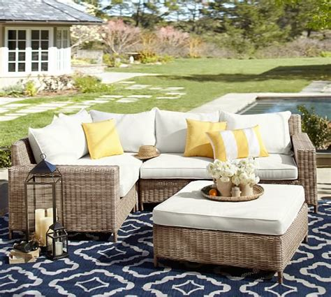 pottery barn patio table torrey all weather wicker sectional ottoman