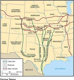 cattle trails map us history maps