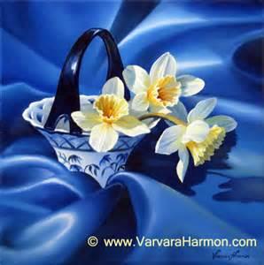 Cala Lillies Daffodils On Blue Silk Original Oil Floral Painting By Varvara Harmon Maine Landscape