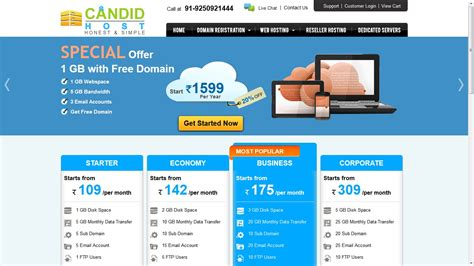 candid host offering  commerce web hosting services