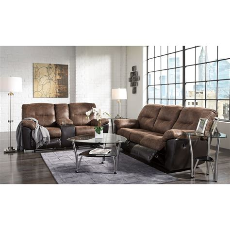two tone reclining sofa signature design by follett 6520288 two tone faux