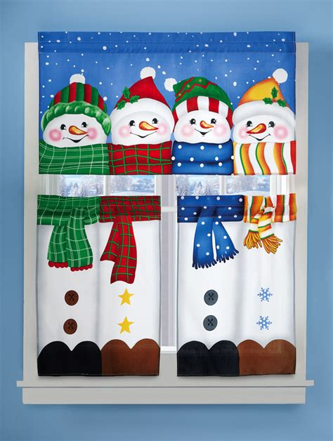 winter kitchen curtains 3 piece winter pals snowman cafe window curtain set