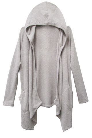 Dress White Cardy s drapey hooded cardy with side pockets laila