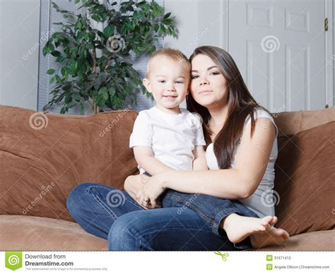 mom son couch happy young mother and toddler stock photography image