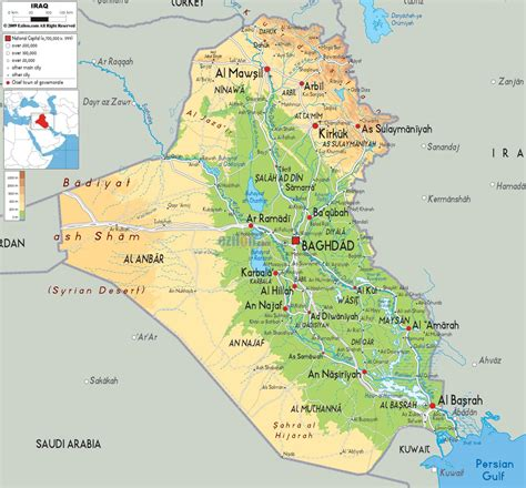 iraq geography map map  iraq geography western asia