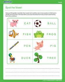 spot the vowel free 1st grdae english worksheet jumpstart