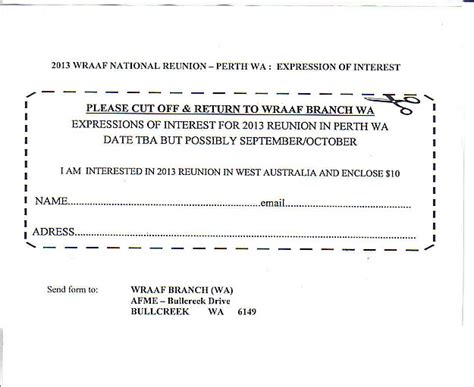 expression of interest form template exwraaf expression of interest 2013 wraaf reunion