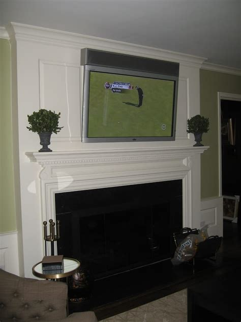 55 Inch Tv Above Fireplace by 55 Quot Television Mounted A Fireplace A Custom Made