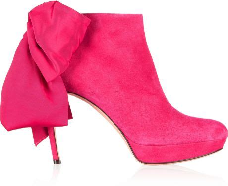 Mcqueen Bow Back Ankle Boots by Mcqueen Bow Embellished Suede Ankle Boots In