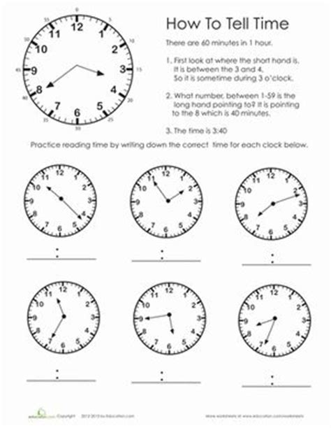 clocks testo telling time second grade and worksheets on