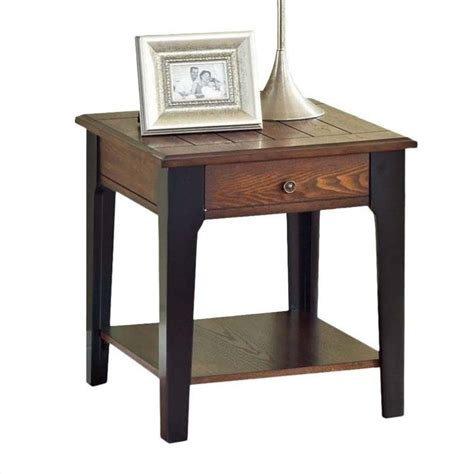 Acme furniture magus end table in brown oak and black 80261
