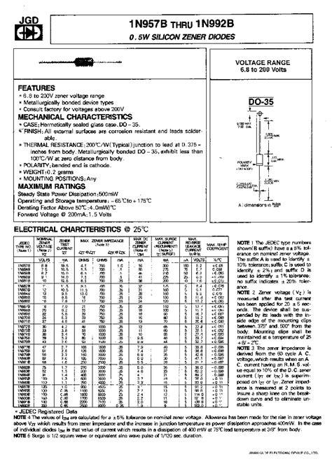 silicon diode datasheet 1n974b 319919 pdf datasheet ic on line
