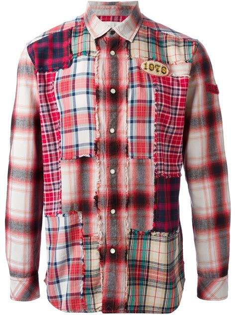 Patchwork Shirt - diesel patchwork shirt in for lyst