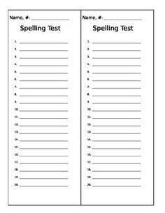 templates for spelling words freebie spring spelling test templates teaching
