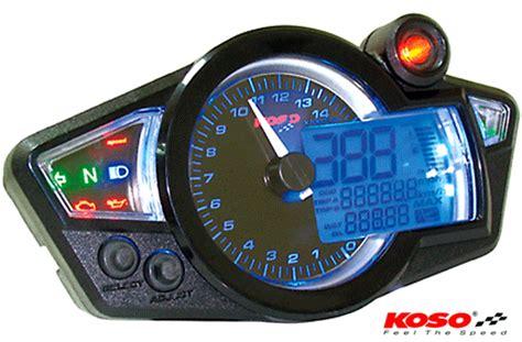Koso Gpii Style Meter Rpm Blue Backlight Speedometer Mini bikermart koso rx1n black gp style motorcycle speedo cockpit display koso digital dashes