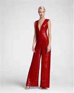 naeem khan sleeveless v neck sequin jumpsuit red