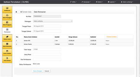 tutorial ci and bootstrap codeigniter tutorial contoh aplikasi pemesanan pada