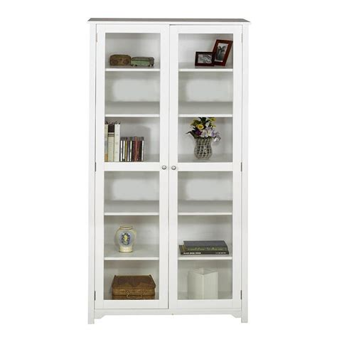 Glass Door For Home Home Decorators Collection Oxford White Glass Door Bookcase 3012250410 The Home Depot