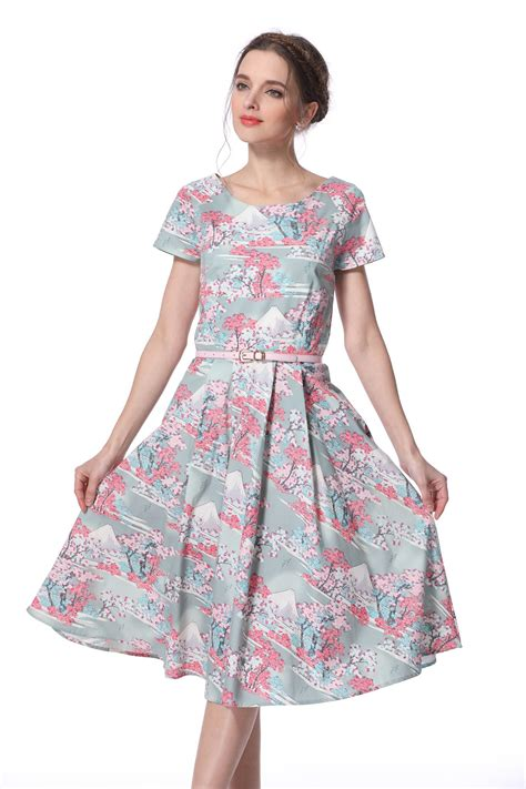 dress hanami cherry blossom print sleeve midi