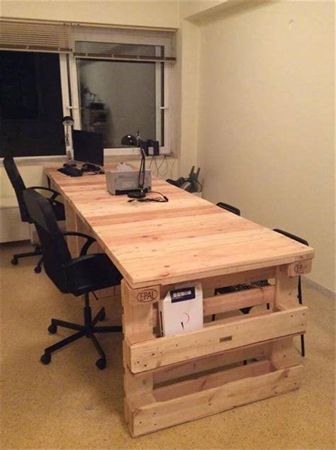 diy desk top wood wood pallet office computer desk