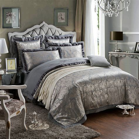 luxurious comforter sets king size 4pcs set luxury beautiful flower printed damask bedding