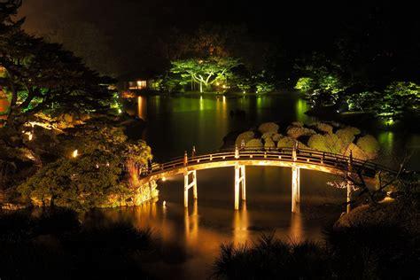 japanese garden at night