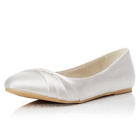 Women's Satin Flat Heel Closed Toe Flats (047048008