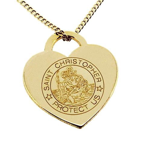 9ct solid gold st christopher tag pendant with
