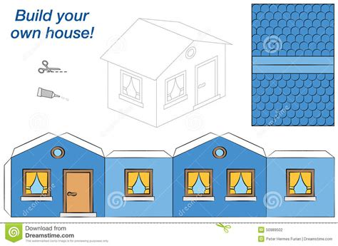 How To Make A Paper House Easy - house paper model blue stock vector image 50989502