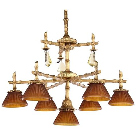faux bamboo chandelier bronze faux bamboo seven light chandelier for sale at 1stdibs